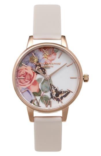 Women's Olivia Burton Enchanted Garden Leather Strap Watch, 30Mm