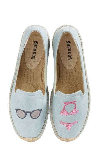 Women's Soludos Embroidered Smoking Slipper Flat