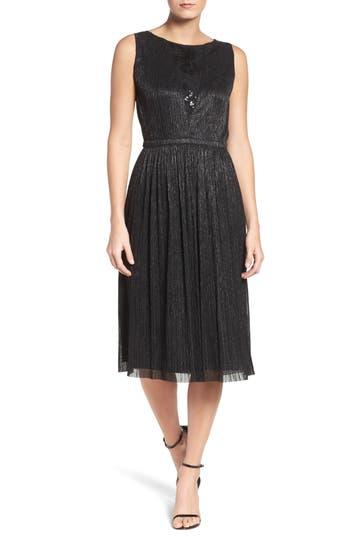 Tahari Metallic Pleated Midi Dress