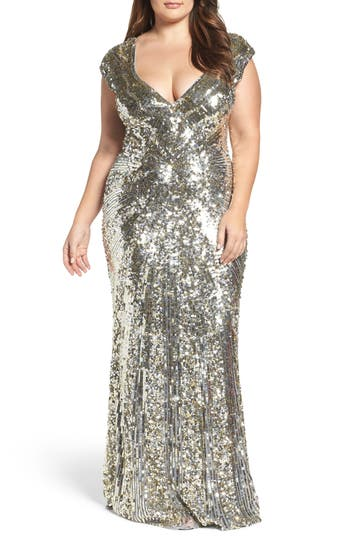 Plus Size MAC Duggal Sequin Plunging V-Neck Gown