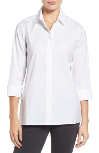 Foxcroft Gigi Stretch Cotton Tunic, White