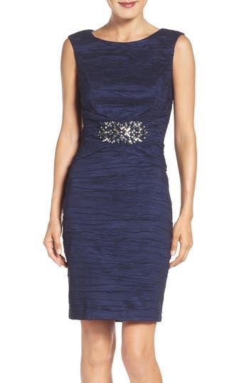 Eliza J Embellished Taffeta Sheath Dress, Blue