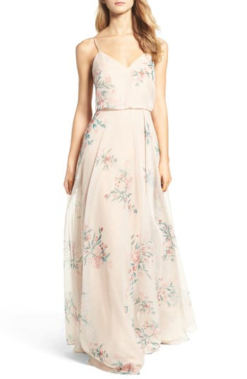 Jenny Yoo Inesse V-Neck Chiffon Gown, Pink