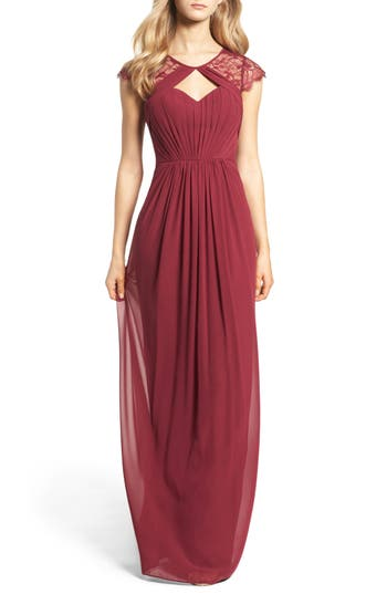 Hayley Paige Occasions Cap Sleeve Lace & Chiffon Gown, Burgundy