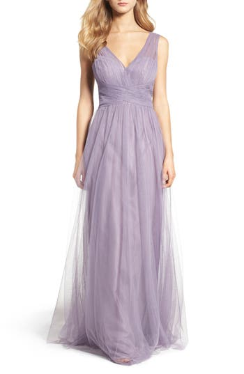Hayley Paige Occasions Illusion Gown, Purple