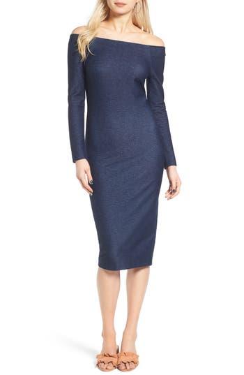 Women's St. Studio Denim Off The Shoulder Body-Con Dress