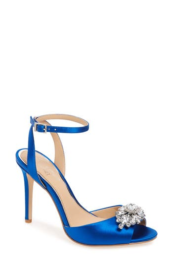 Jewel Badgley Mischka Hayden Embellished Ankle Strap Sandal, Blue