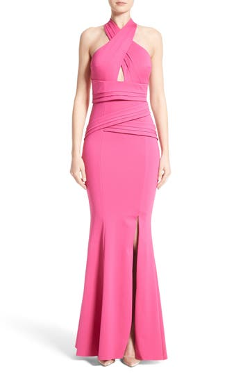 Rachel Gilbert Neoprene Halter Mermaid Gown