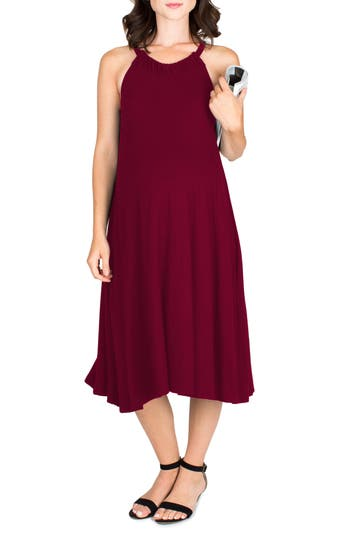 Nom Maternity Andrea Maternity Midi Dress, Red