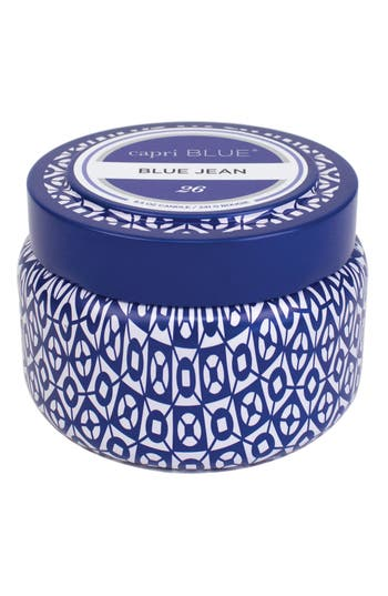 Capri Blue Printed Tin Candle, Size One Size - Blue
