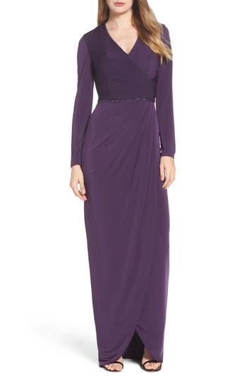 La Femme Embellished Faux Wrap Gown