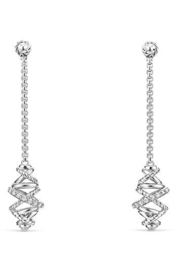Women's David Yurman Crossover Chain Drop Earrings With Diamonds