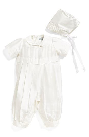 Infant Isabel Garreton Tucked Silk Romper  Bonnet