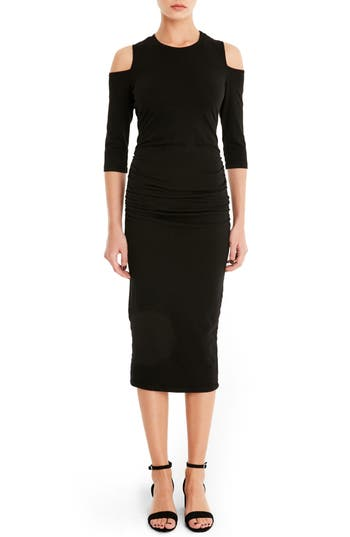 Michael Stars Cold Shoulder Midi Dress, Black