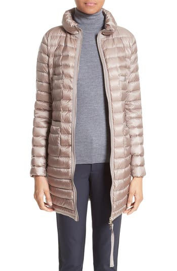 Moncler Bogue Water Resistant Long Down Jacket, Brown