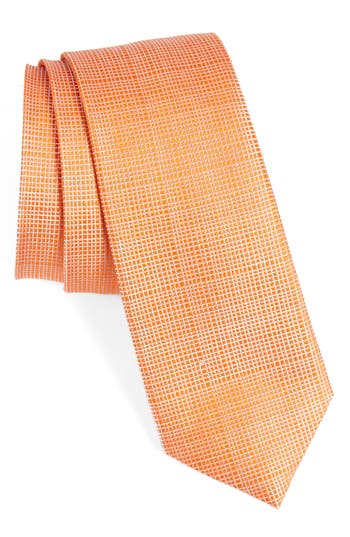 Men's Calibrate Saffron Solid Silk Skinny Tie, Size Regular - Orange
