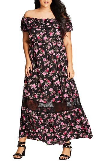 Plus Size City Chic Free Love Floral Off The Shoulder Maxi Dress, Red