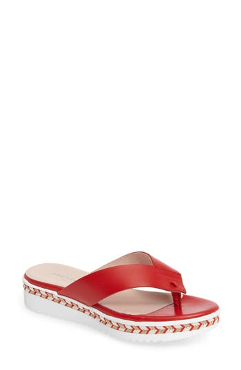 Women's Patricia Green Brooklyn Wedge Flip Flop, Size 6 M - Red