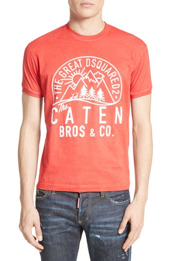 Dsquared2 Mountain Logo Graphic T-Shirt, Red