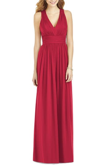 After Six Crisscross Back Ruched Chiffon V-Neck Gown, Red