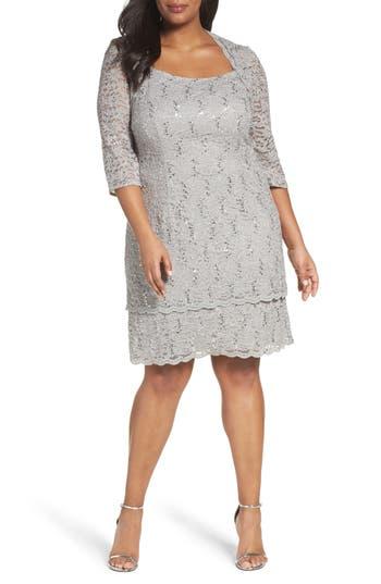 Plus Size Alex Evenings Scallop Edge Sequin Lace Shift Dress