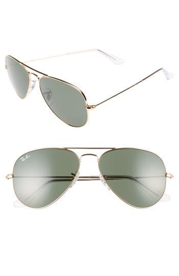 Ray-Ban Small Original 55Mm Aviator Sunglasses - Gold/green