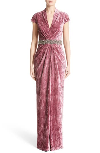 Badgley Mischka Couture Beaded Belt Faux Wrap Gown