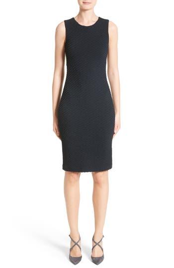 Armani Collezioni Diagonal Jacquard Sheath Dress, Blue