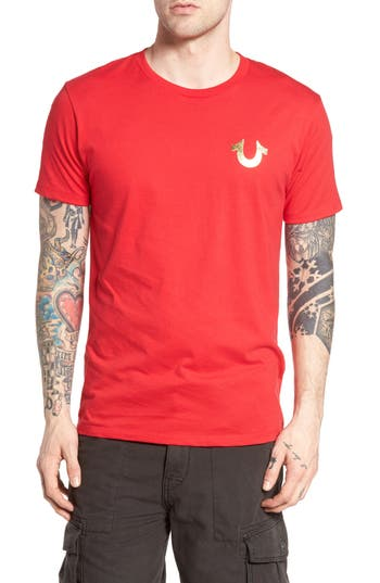 True Religion Brand Jeans Gold Buddha Graphic T-Shirt, Red