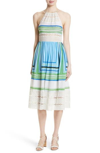 Tracy Reese Lace Inset Halter Dress, White