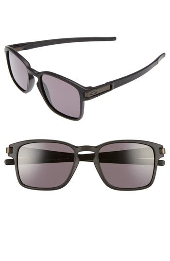 Oakley Latch 52Mm Rectangular Sunglasses - Matte Black/ Warm Grey