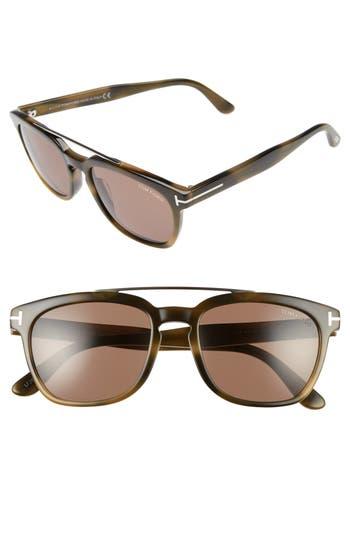 Women's Tom Ford 54Mm Double Brow Bar Sunglasses - Black/ Rose Gold/ Smoke