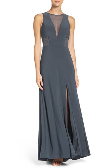 Morgan & Co. Illusion Gown, /6 - Grey