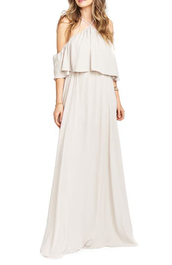 Show Me Your Mumu Rebecca Off The Shoulder Chiffon Gown, Beige