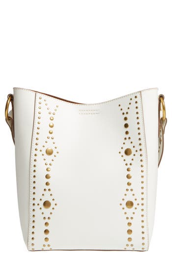 Frye Harness Calfskin Leather Bucket Bag - White