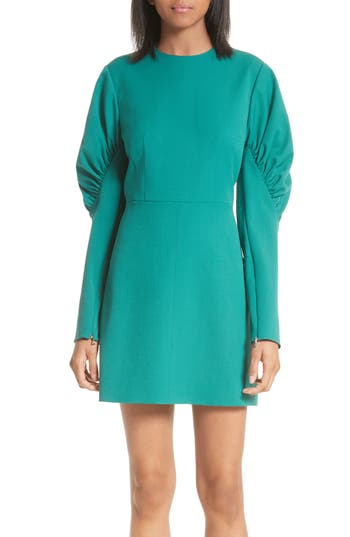 Tibi Florence Twill Minidress, Green