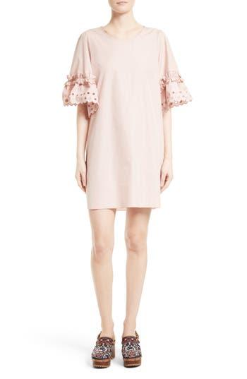 See By Chloe Ruffle Eyelet Sleeve Shift Dress, 6 FR - Pink