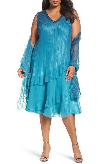 Plus Size Komarov Tiered Chiffon Shift Dress With Shawl, Blue