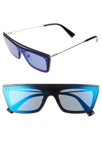 Valentino Rockstud 50Mm Rectangular Sunglasses - Mirror Blue/ Shiny Black