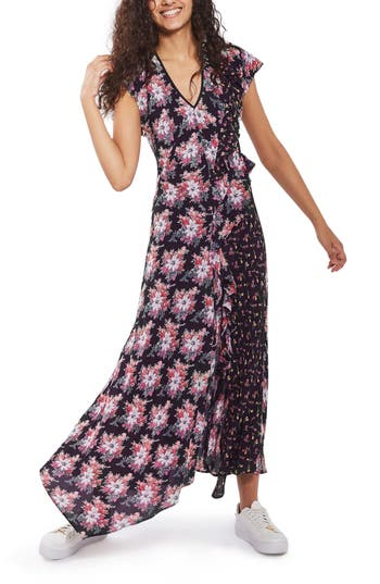 Topshop Splice D-Ring Floral Maxi Dress, US (fits like 0) - Black