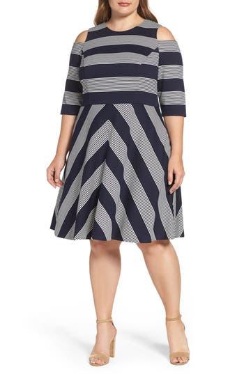 Plus Size Eliza J Stripe Cold Shoulder Fit & Flare Dress