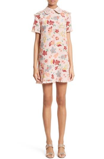 Red Valentino Floral Print Silk Dress, US / 42 IT - Beige