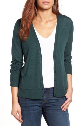 Petite Halogen V-Neck Merino Wool Cardigan, Green