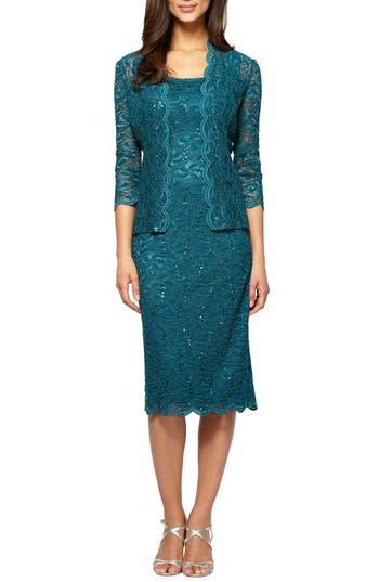 Women's Alex Evenings Lace Dress & Jacket, Size 16 - Blue