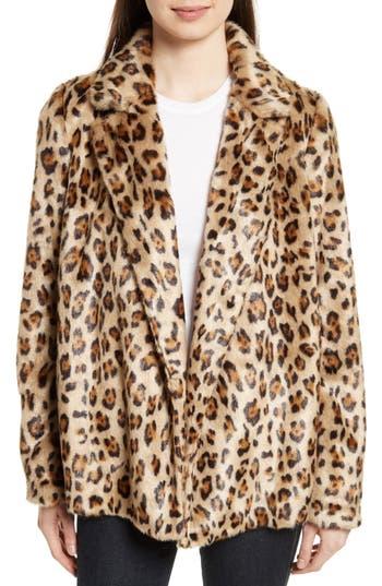 Women's Theory Clairene Leopard Print Faux Fur Coat, Size Petite - Brown