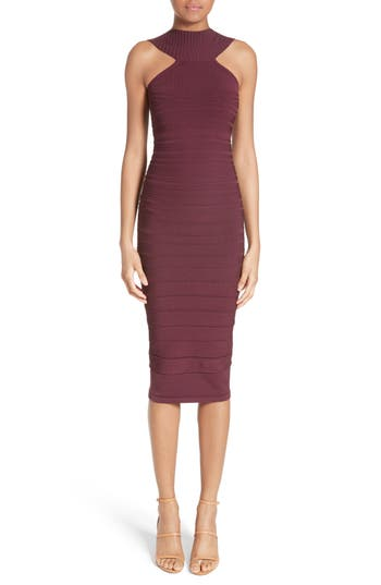 Cushnie Et Ochs Knit High Neck Dress, Purple