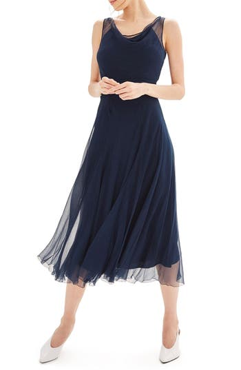 Women's Topshop Bride Silk Midi Dress, Size 4 US (fits like 0-2) - Blue