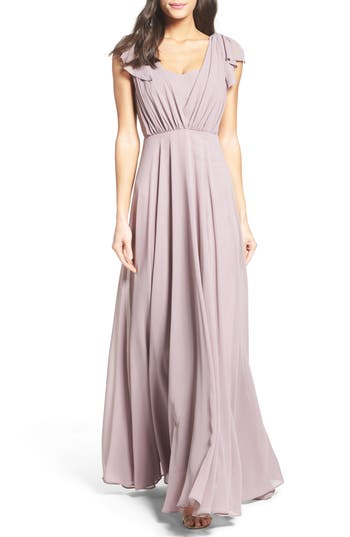 Lulus Flutter Sleeve Chiffon Gown