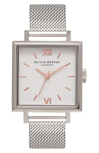 Women's Olivia Burton Big Square Mesh Strap Watch, 30Mm