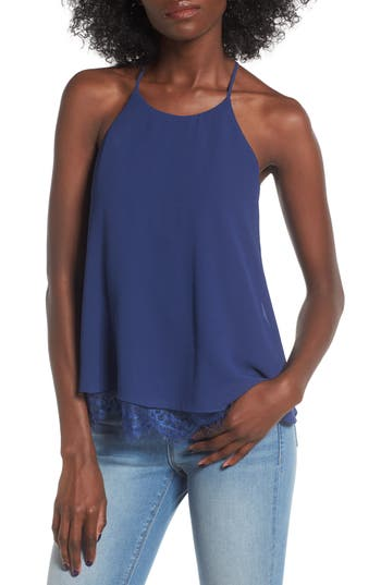 Women's Soprano Lace Trim Tank, Size X-Small - Blue